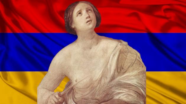 Гвидо Рени. Самоубийство Лукреции (1642). Флаг Армении. Коллаж.
