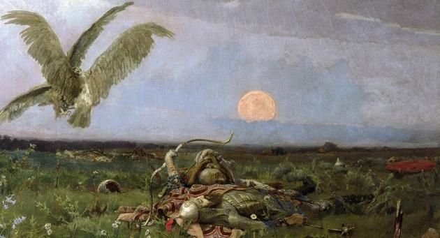 В. Васнецов. После побоища Игоря Святославича с половцами (1880). Фрагмент