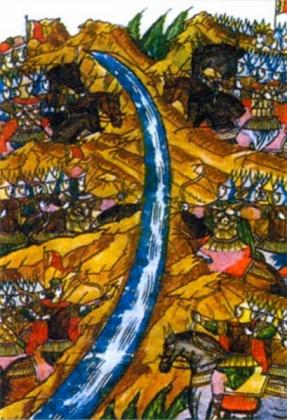 Стояние на реке Угре (фрагмент миниатюры летописного свода, XVI век).