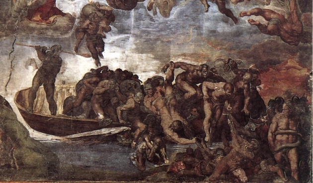 Харон, сталкивающий грешников с лодки. Микеланджело Буонарроти 1534-1541