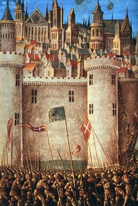 Осада крепости. Средневековая гравюра.