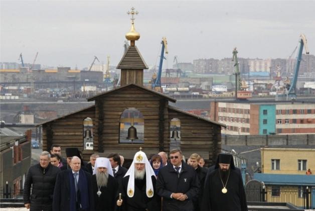 В Норильске место под строительство нового храма освятил патриарх Кирилл