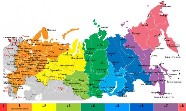 Часовые пояса России.