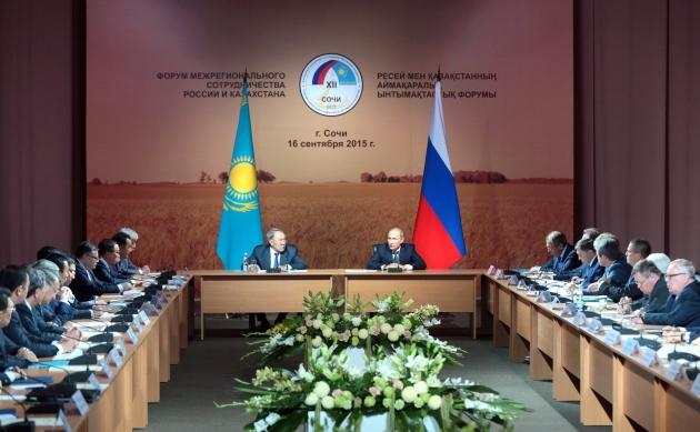 Владимир Путин и Президент Казахстана Нурсултан Назарбаев приняли участие в XII Форуме межрегионального сотрудничества России и Казахстана