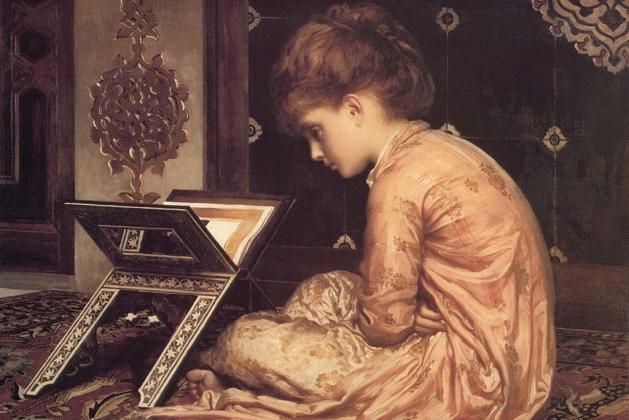 Фредерик Лейтон. Читающая девушка (1877). Фрагмент