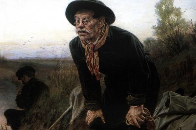 Василий Перов. Рыболов (1871). Фрагмент