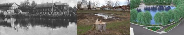 Шаговский пруд: в 1930е годы, в 2015 году, проект Эдуарда Федорова.
