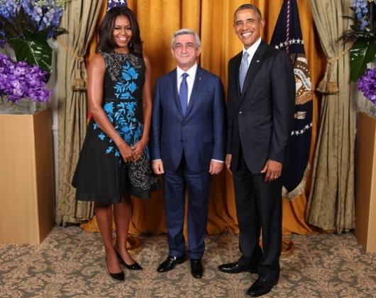 Президент Армении провел краткую беседу со своим американским коллегой