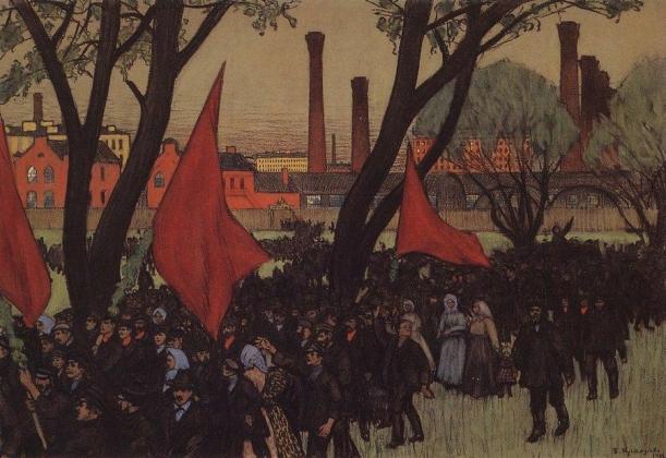 Борис Кустодиев. Первомайская демонстрация у Путиловского завода. 1906.