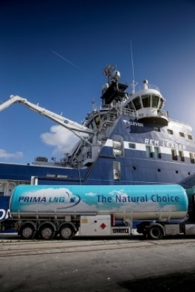 Заправка корабля сжиженным природным газом. Эсбьерг, Дания.