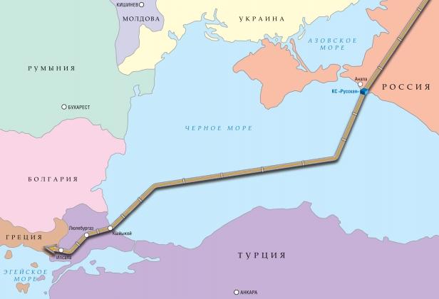 Схема планируемой трассы газопровода «Турецкий поток».