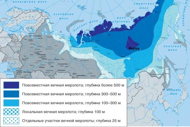 Вечная мерзлота на карте России.