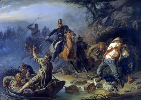 Василий Худяков. Стычка с финскими контрабандистами. 1853