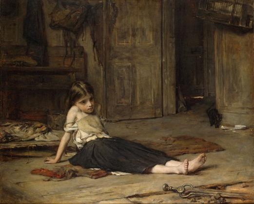 Фрэнк Холл. Девочка у камина. 1867.