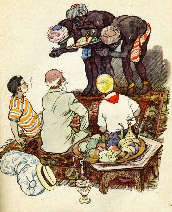Г. Мазурин. Хинди руси бхай бхай. Иллюстрация к книге «Старик Хоттабыч». Изд-во «Детгиз», 1963