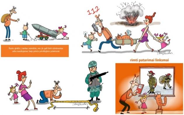 Иллюстрации из брошюры «Что мы должны знать о подготовке к чрезвычайным ситуациям и военному времени»