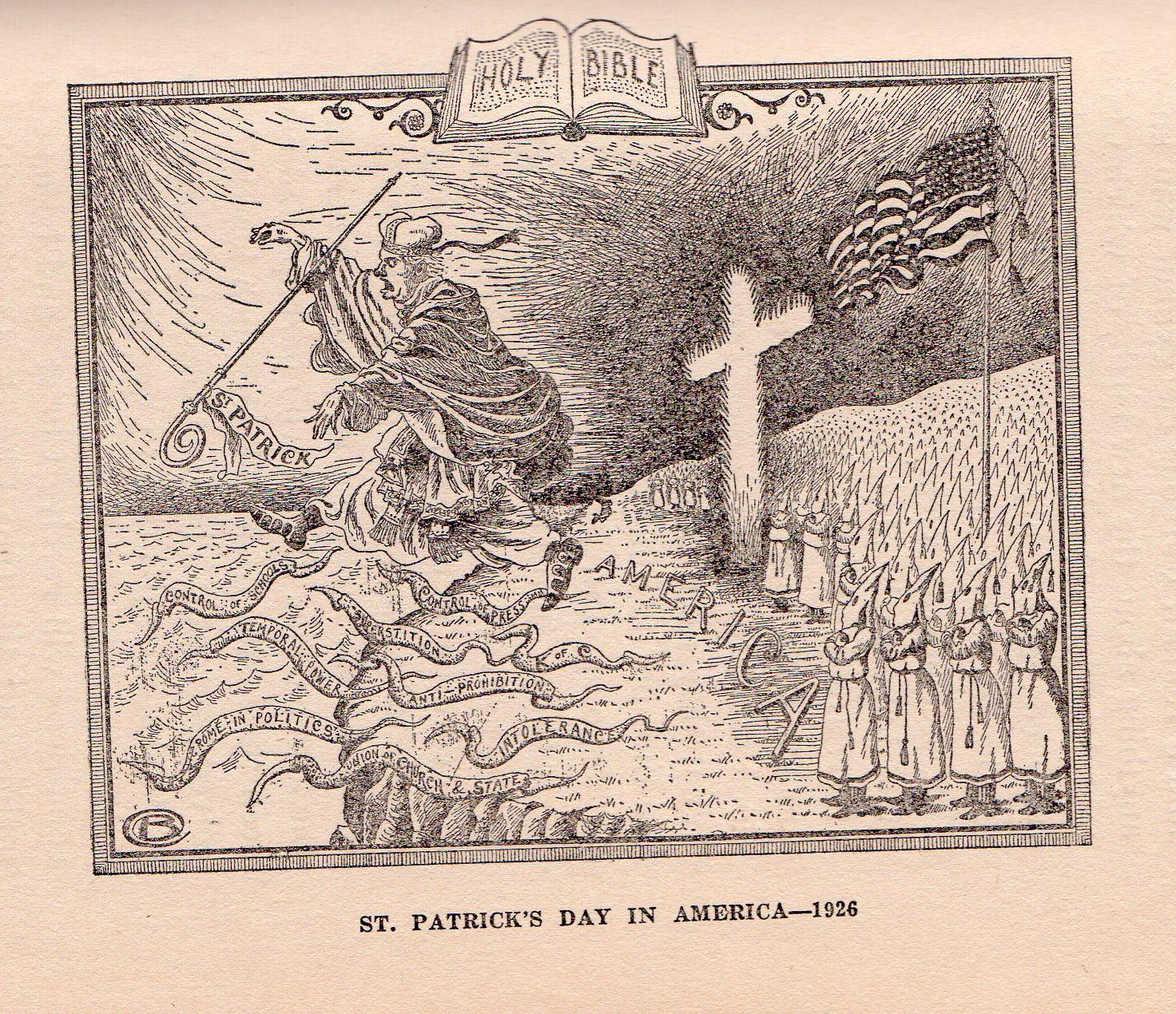 Карикатура на которой Ку-клукс-клан прогоняет Католическую Церковь в лице Святого Патрика с берегов Америки