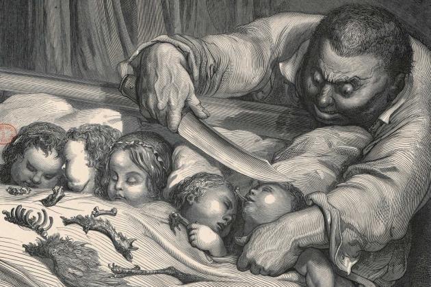 Гюстав Доре. Мальчик с пальчик. Гравюра. 1862