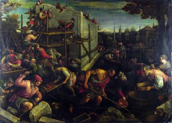 Леандро Бассано. «Вавилонская башня». холст, масло. XVI век