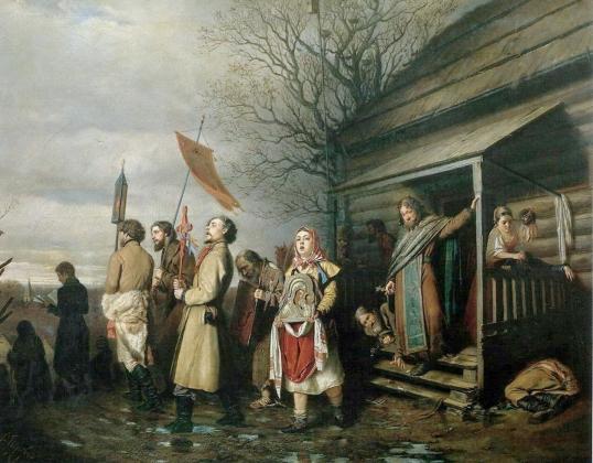 Василий Перов. Сельский крестный ход на Пасхе. 1861