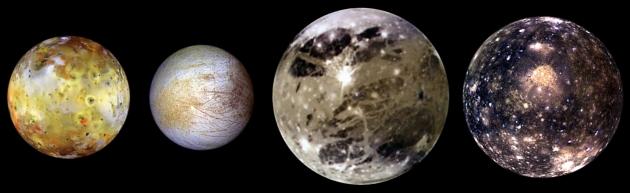 Спутники юпитера: Ио, Европа, Ганимед и Каллисто