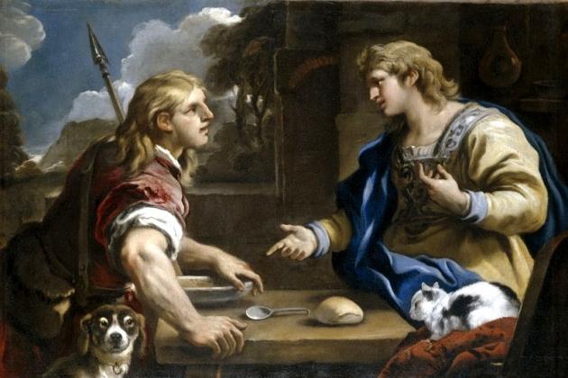 Лука Джордано. Иаков предлагает Исаву продать своё первородство. 1695