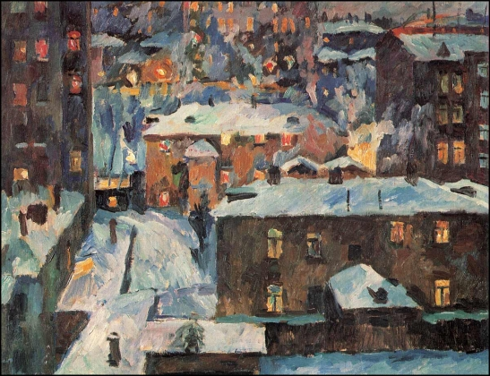 Аристарх Лентулов. Ночь на Патриарших прудах.  1928