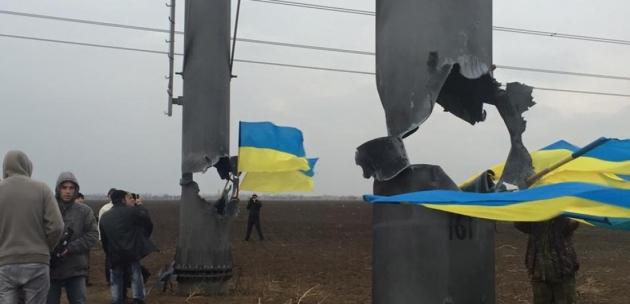 Взорванные ЛЭП, ведущие в Крым