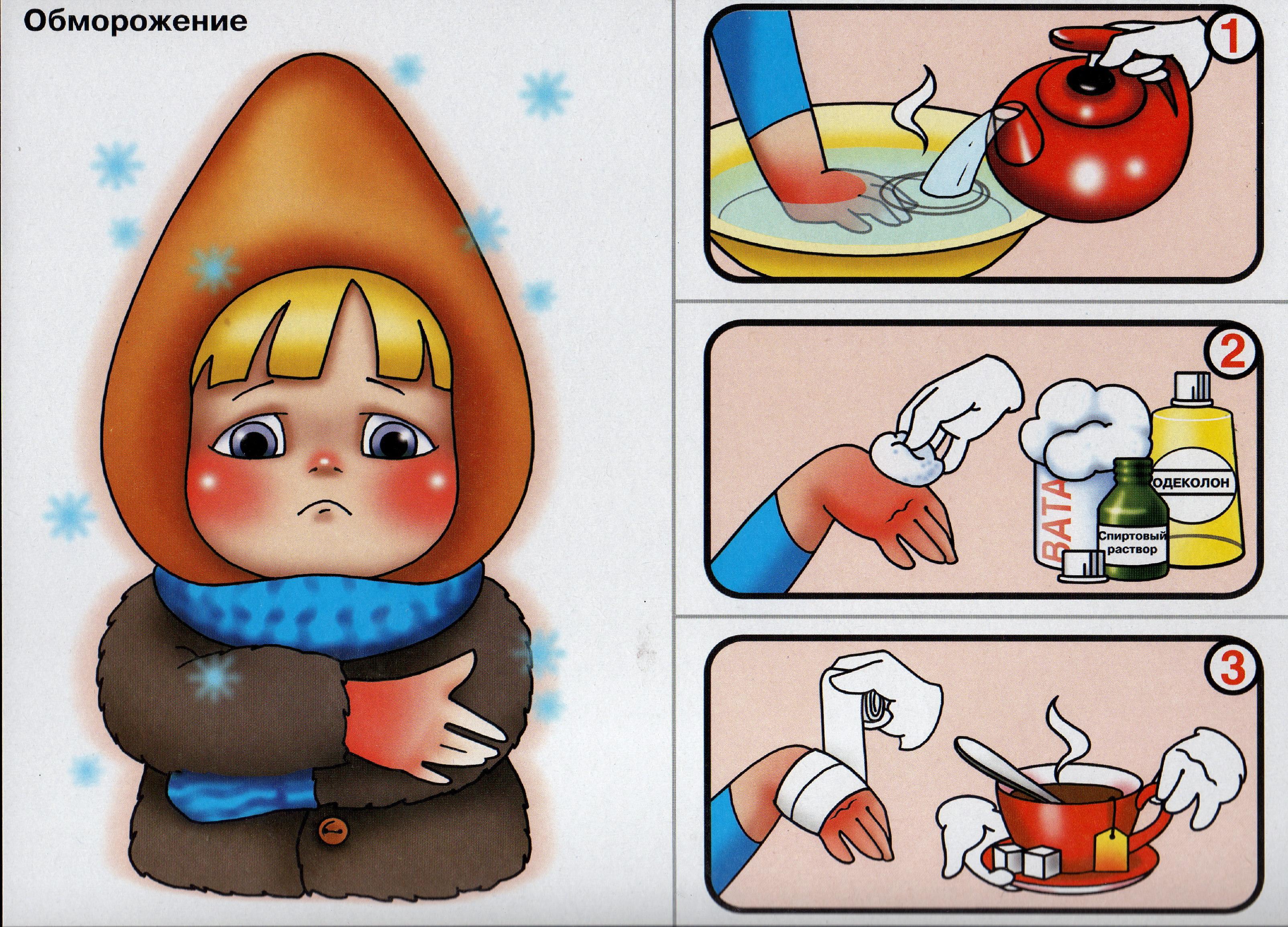 Первая помощь при отморожениях в картинках