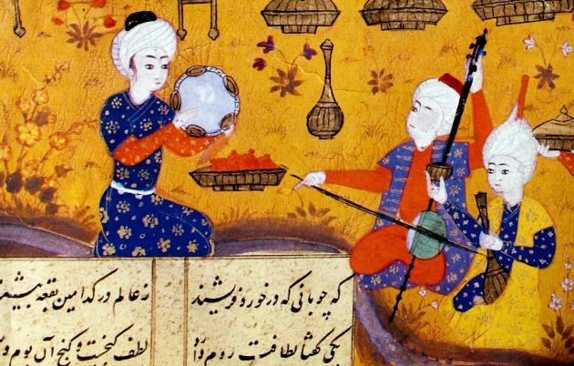 Мугам втроем. Миниатюра XVI века, написанная по мотивам поэмы Низами Гянджеви «Хосров и Ширин»