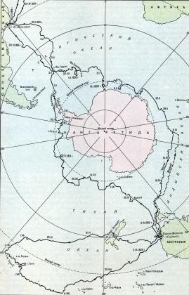 Карта плавания экспедиции Ф. Белинстгаузена и М. Лазарева в 1819-1821 гг