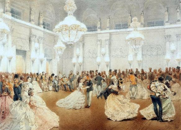 Михай Зичи. Бал в Концертном зале Зимнего дворца во время официального визита Насир аль-Дин-шаха мая 1873