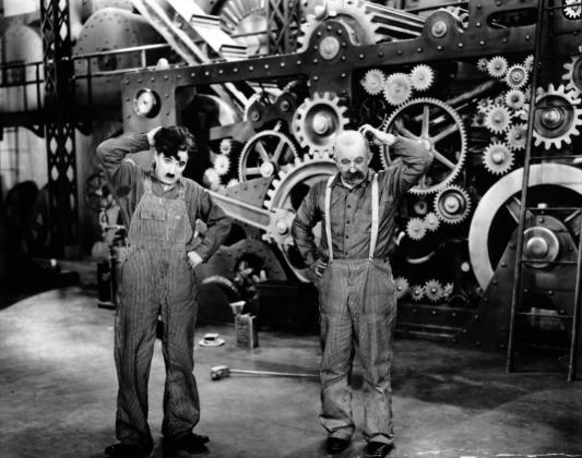 Кадр из фильма Чарли Чаплина  «Новые времена». 1936