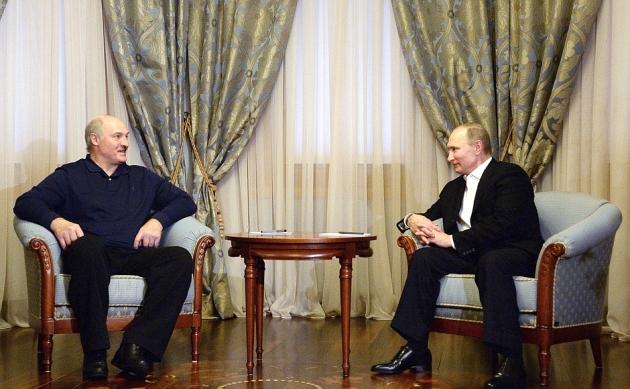 Александр Лукашенко и Владимир Путин на встрече в Сочи