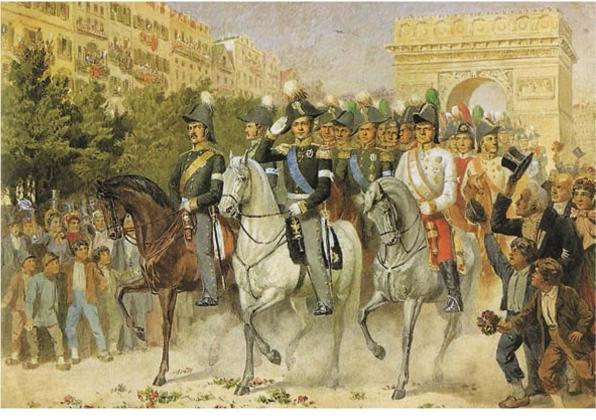 Алексей Кившенко. Вступление русских и союзных войск в Париж. 1880