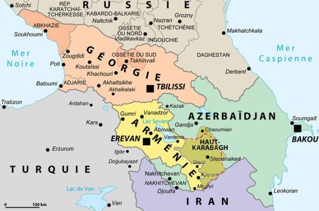 Закавказье. Карта на французском языке