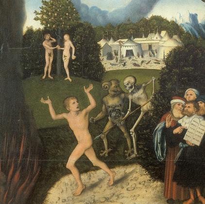 Лукас Кранах (старший). Аллегория о Законе и Благодати (фрагмент). 1529