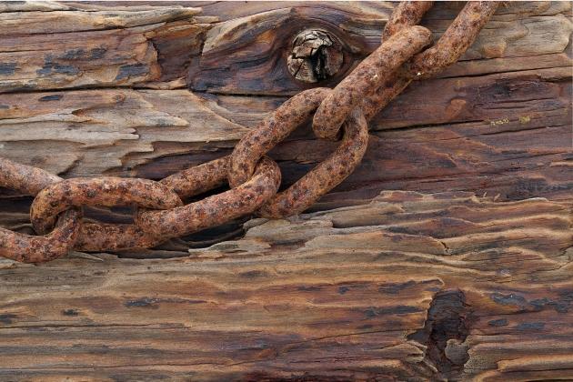 Ржавая цепь на прогнившем дереве