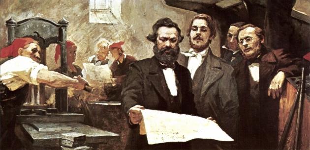 Е. Сапиро. Карл Маркс и Фридрих Энгельс в типографии «Новой Рейнской газеты» в Кёльне