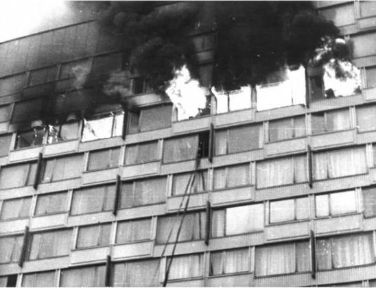 Пожар в гостинице «Ленинград»  23 февраля 1991 г. Фото из архива ГУ МЧС России по г. Санкт-Петербургу