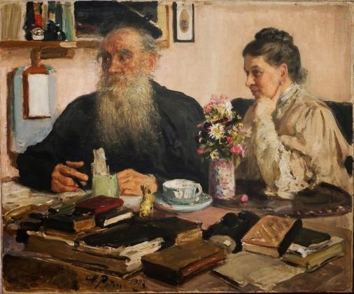И.Репин. Л.Н.Толстого с женой С.А.Толстой в Ясной поляне. 1907-1911