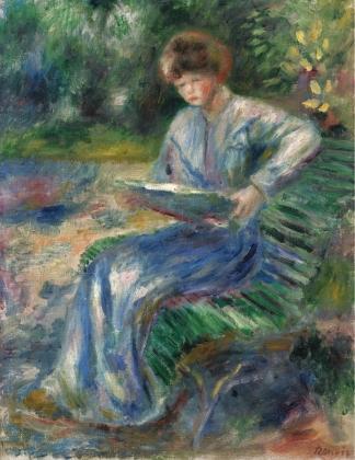 Пьер Огюст Ренуар. Читающая женщина на скамейке. 1905