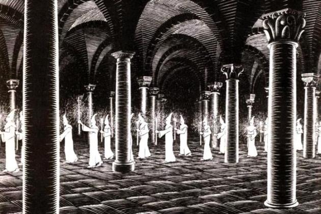 Мауриц Корнелис Эшер. Проход в склеп. 1927