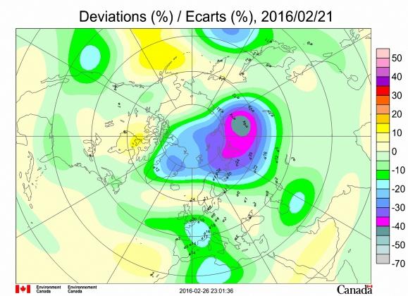 Рис. 1. Аномалии поля ОСО в Северном полушарии 21 февраля 2016 года