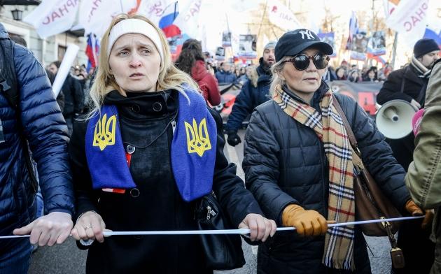 Символика на шествии памяти Бориса Немцова в Москве