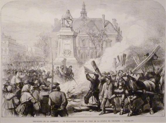 Апрель 1871 года, сожжение гильотины у ног статуи Вольтера. 1871 год