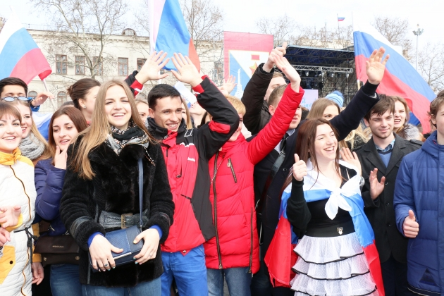 Митинг в Севастополе, посвященный двухлетней годовщине воссоединения Крыма с Россией