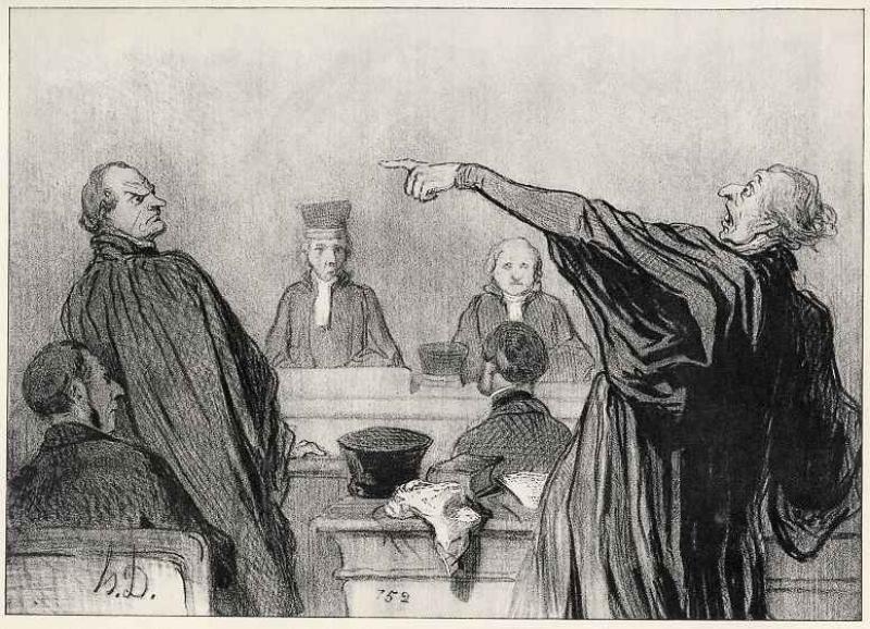Оноре Домье. Состязательный процесс. 1845