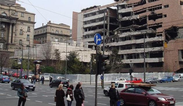 Белград. Результат бомбардировок . Югославия. 1999