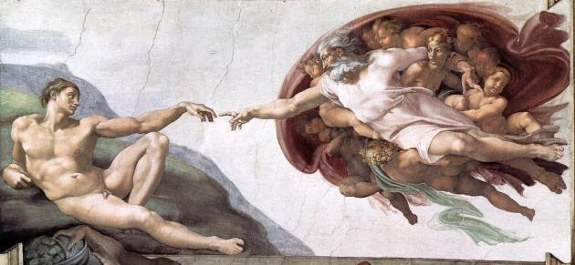 Микеланджело. Сикстинская капелла. Библейские сюжеты. Сотворение Адама